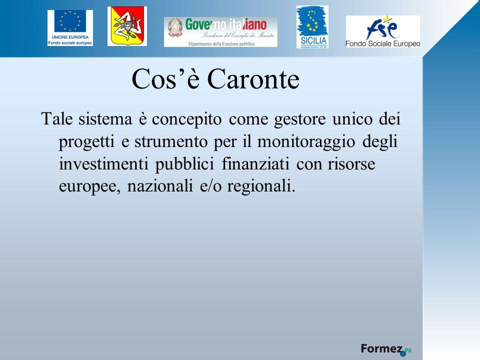 Cos'è Caronte Tale sistema è concepito come gestore unico dei progetti e strumento per il monitoraggio degli investimenti pubblici finanziati con risorse europee, nazionali e/o regionali.