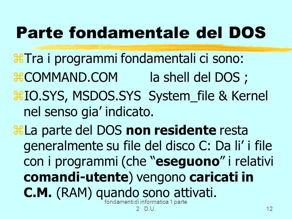 fondamenti di informatica 1 parte 2 D.U.12 Parte fondamentale del DOS zTra i programmi fondamentali ci sono: zCOMMAND.COM la shell del DOS ; zIO.SYS, MSDOS.SYS System_file & Kernel nel senso gia' indicato.