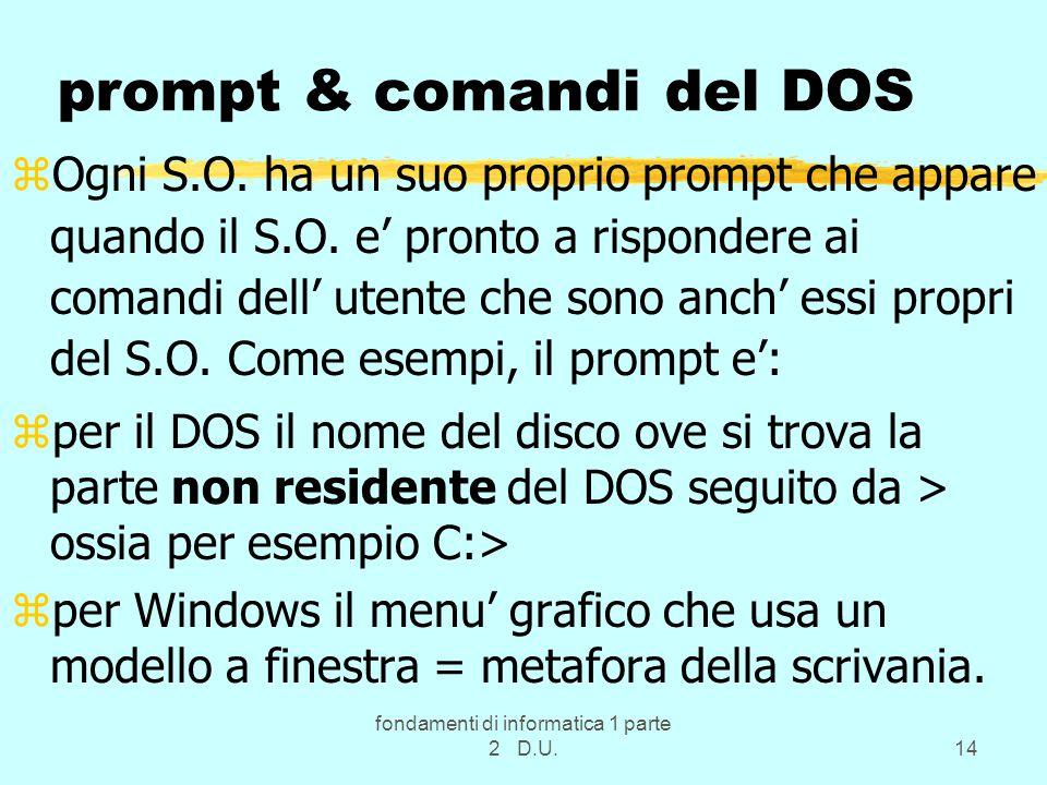 fondamenti di informatica 1 parte 2 D.U.14 prompt & comandi del DOS zOgni S.O.