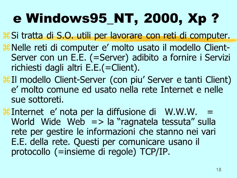 18 e Windows95_NT, 2000, Xp . zSi tratta di S.O. utili per lavorare con reti di computer.