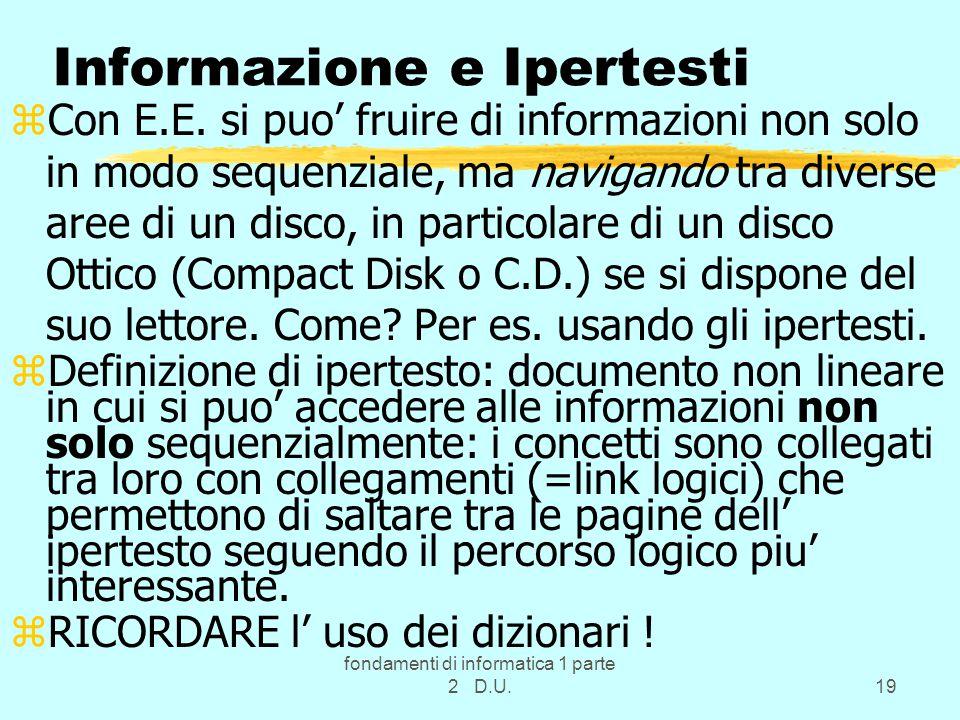 fondamenti di informatica 1 parte 2 D.U.19 Informazione e Ipertesti zCon E.E.