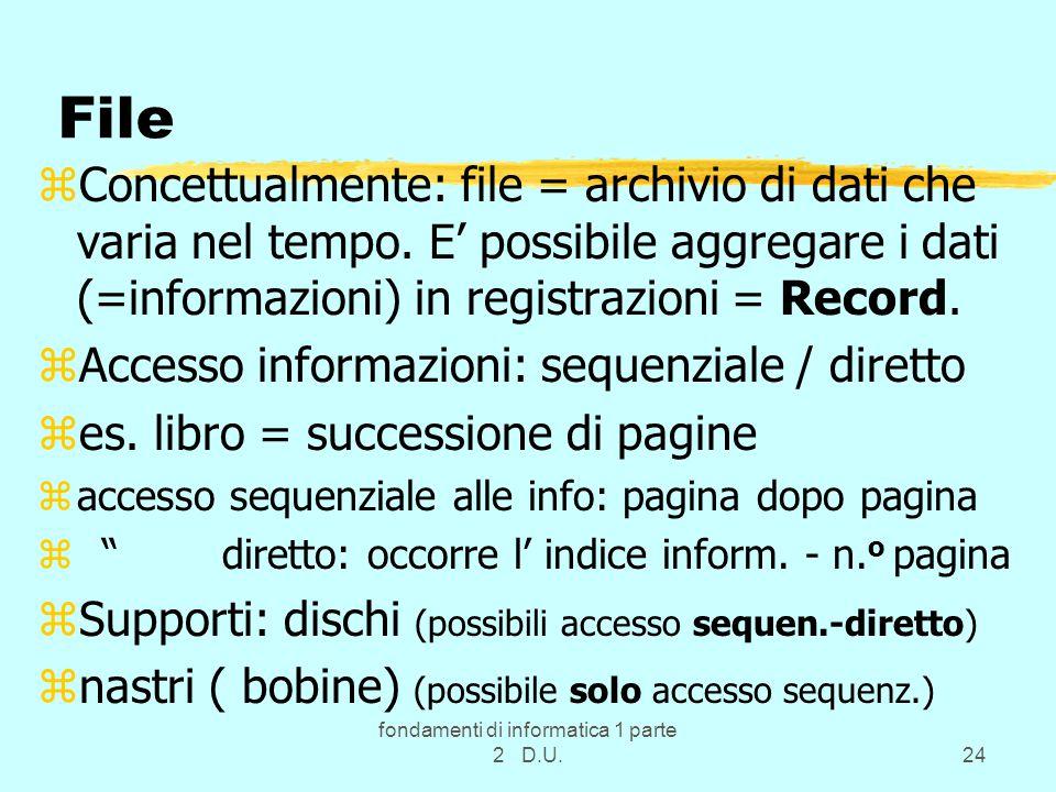 fondamenti di informatica 1 parte 2 D.U.24 File zConcettualmente: file = archivio di dati che varia nel tempo.