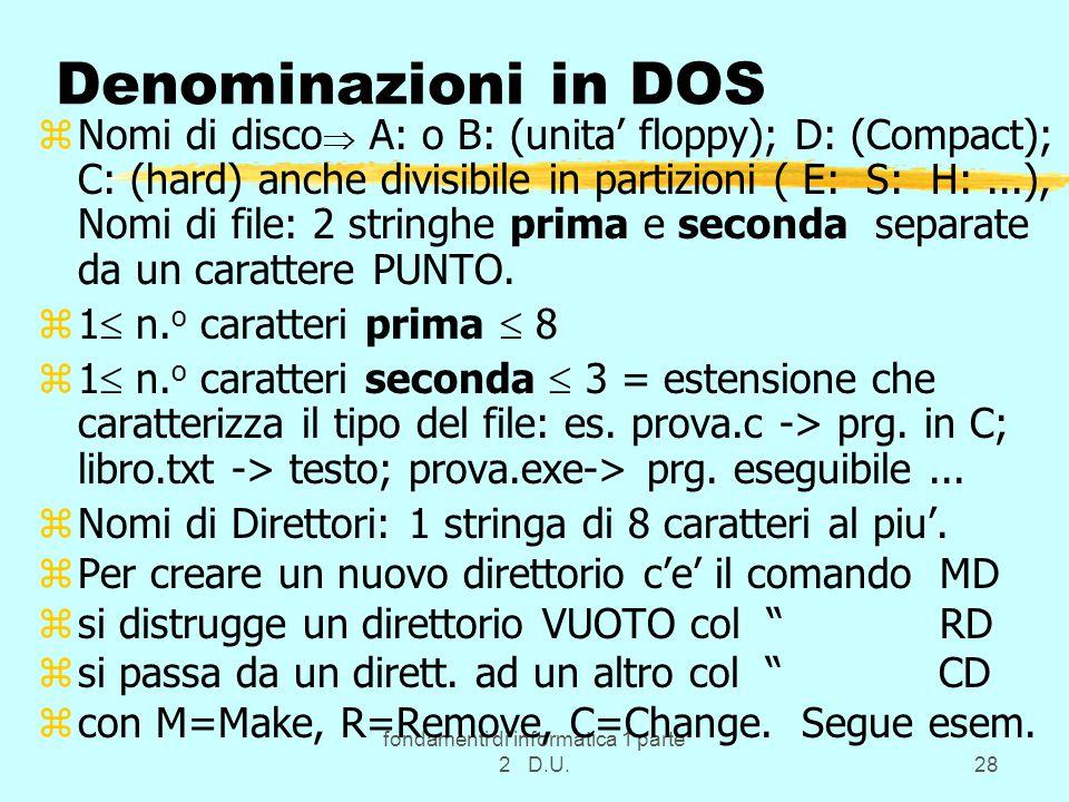 fondamenti di informatica 1 parte 2 D.U.28 Denominazioni in DOS zNomi di disco  A: o B: (unita' floppy); D: (Compact); C: (hard) anche divisibile in partizioni ( E: S: H:...), Nomi di file: 2 stringhe prima e seconda separate da un carattere PUNTO.