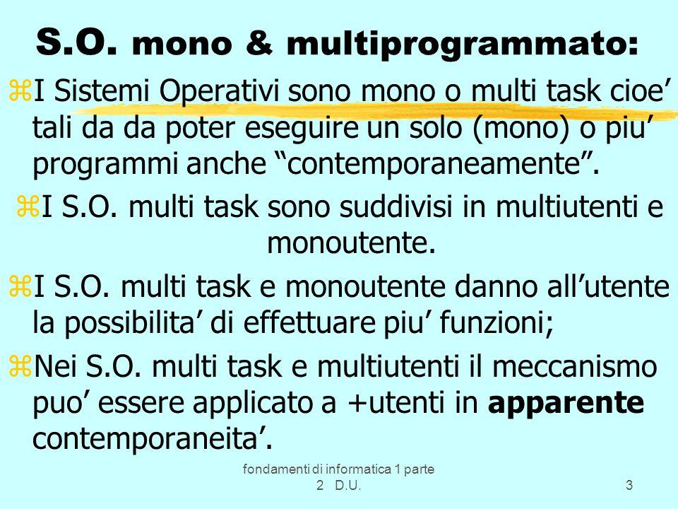fondamenti di informatica 1 parte 2 D.U.3 S.O.