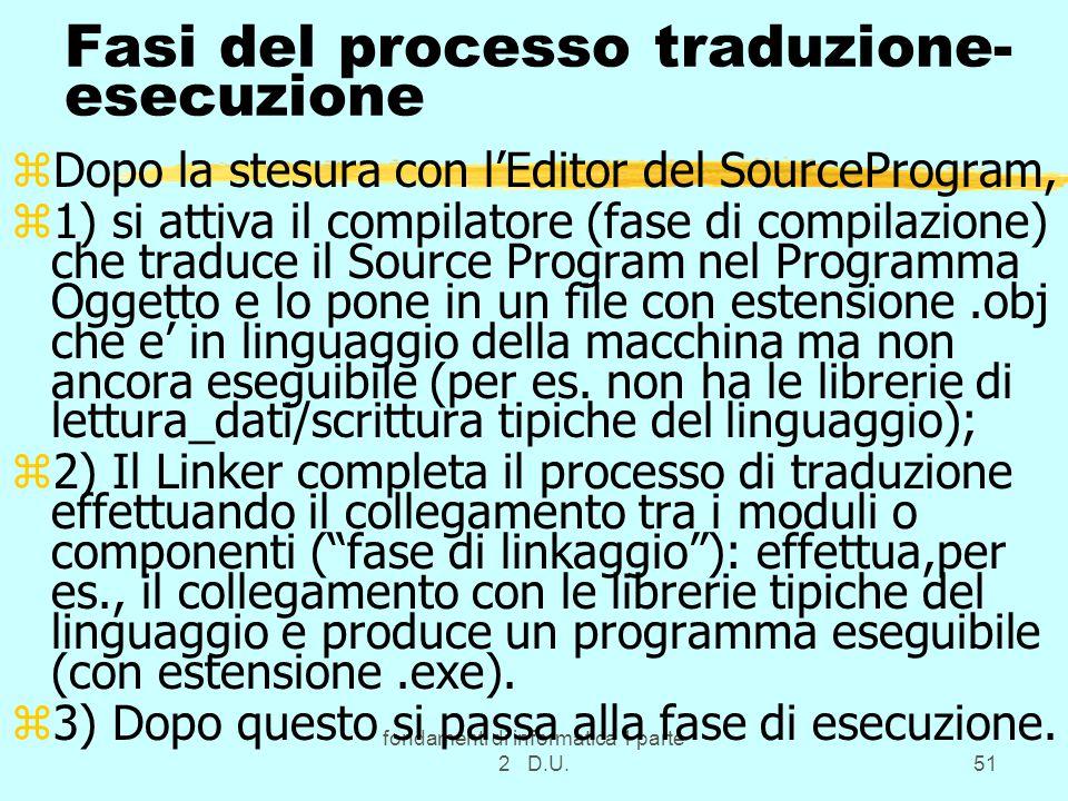 fondamenti di informatica 1 parte 2 D.U.51 Fasi del processo traduzione- esecuzione zDopo la stesura con l'Editor del SourceProgram, z1) si attiva il compilatore (fase di compilazione) che traduce il Source Program nel Programma Oggetto e lo pone in un file con estensione.obj che e' in linguaggio della macchina ma non ancora eseguibile (per es.