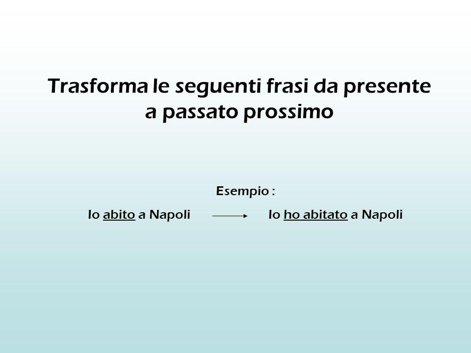 Trasforma le seguenti frasi da presente a passato prossimo Esempio : Io abito a Napoli Io ho abitato a Napoli