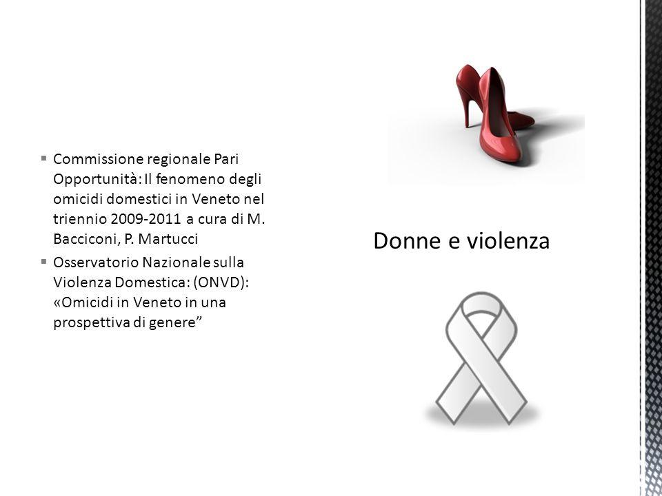  Commissione regionale Pari Opportunità: Il fenomeno degli omicidi domestici in Veneto nel triennio 2009-2011 a cura di M.