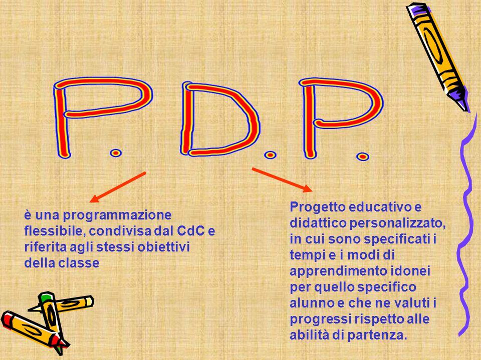 è una programmazione flessibile, condivisa dal CdC e riferita agli stessi obiettivi della classe Progetto educativo e didattico personalizzato, in cui