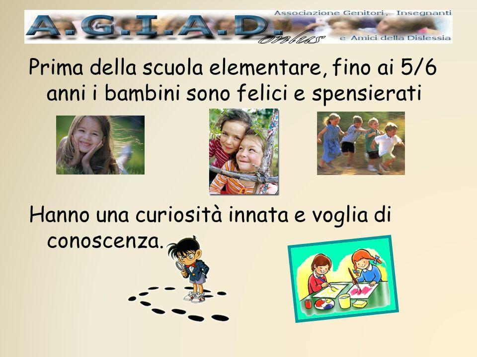 Prima della scuola elementare, fino ai 5/6 anni i bambini sono felici e spensierati Hanno una curiosità innata e voglia di conoscenza.