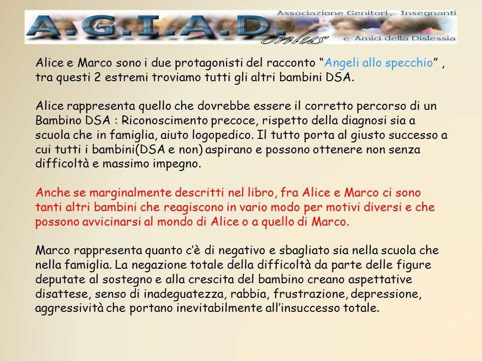 """Alice e Marco sono i due protagonisti del racconto """"Angeli allo specchio"""", tra questi 2 estremi troviamo tutti gli altri bambini DSA. Alice rappresent"""