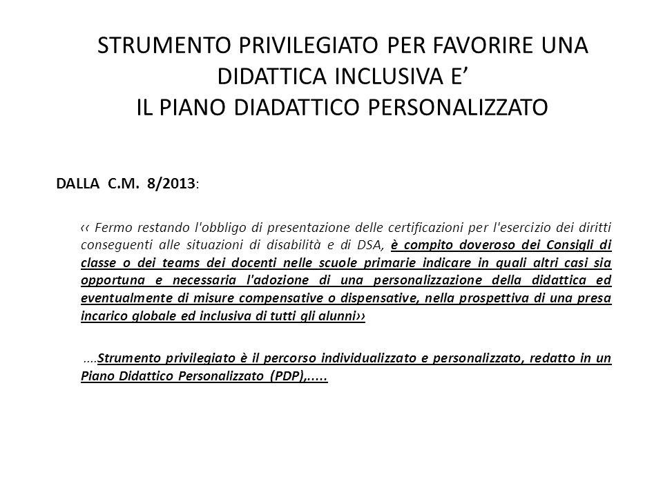 STRUMENTO PRIVILEGIATO PER FAVORIRE UNA DIDATTICA INCLUSIVA E' IL PIANO DIADATTICO PERSONALIZZATO DALLA C.M. 8/2013 : ‹‹ Fermo restando l'obbligo di p