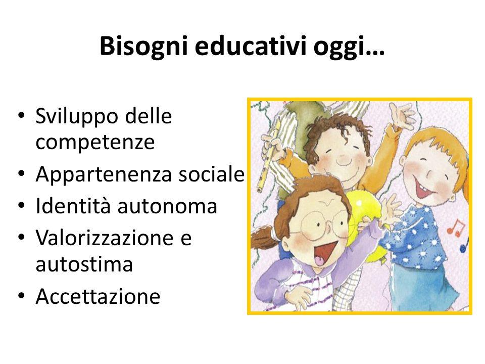 Bisogni educativi oggi… Sviluppo delle competenze Appartenenza sociale Identità autonoma Valorizzazione e autostima Accettazione