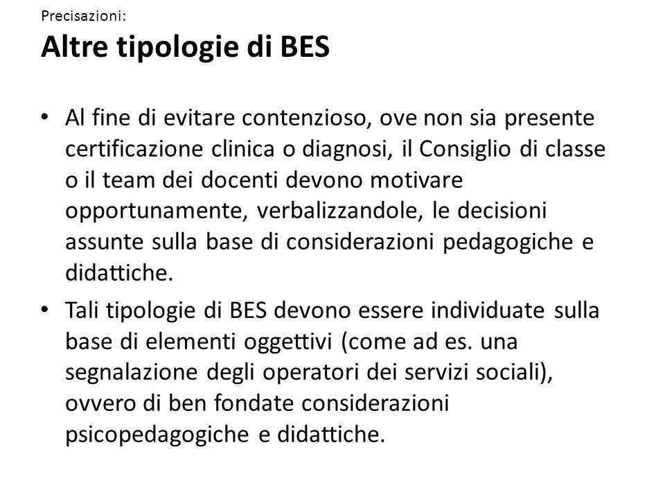 Precisazioni: Altre tipologie di BES Al fine di evitare contenzioso, ove non sia presente certificazione clinica o diagnosi, il Consiglio di classe o