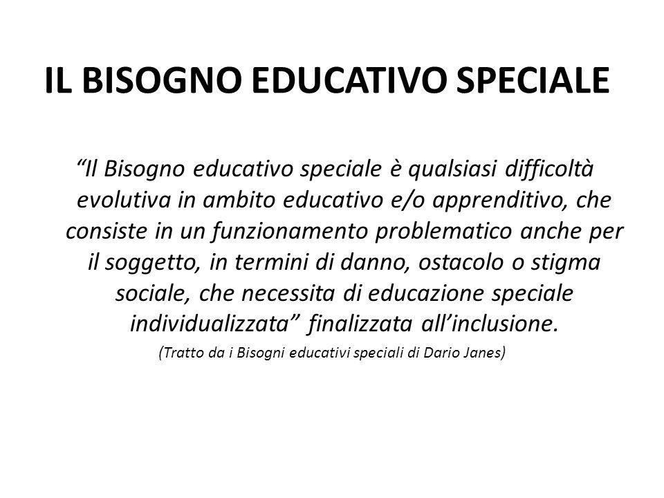 """IL BISOGNO EDUCATIVO SPECIALE """"Il Bisogno educativo speciale è qualsiasi difficoltà evolutiva in ambito educativo e/o apprenditivo, che consiste in un"""