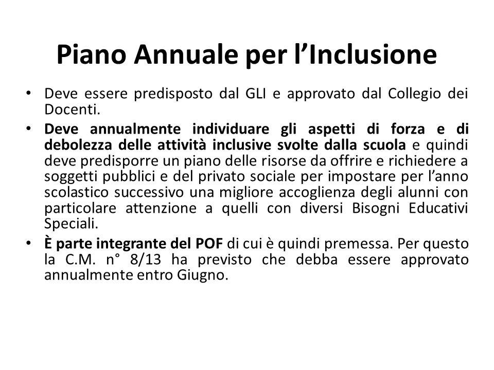 Piano Annuale per l'Inclusione Deve essere predisposto dal GLI e approvato dal Collegio dei Docenti. Deve annualmente individuare gli aspetti di forza