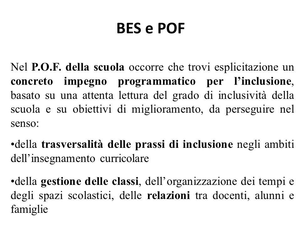 BES e POF Nel P.O.F. della scuola occorre che trovi esplicitazione un concreto impegno programmatico per l'inclusione, basato su una attenta lettura d