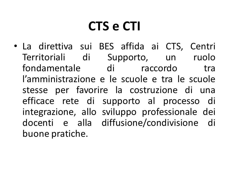CTS e CTI La direttiva sui BES affida ai CTS, Centri Territoriali di Supporto, un ruolo fondamentale di raccordo tra l'amministrazione e le scuole e t