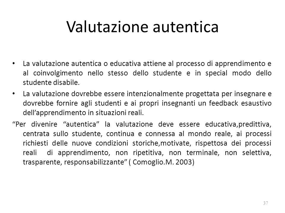 Valutazione autentica La valutazione autentica o educativa attiene al processo di apprendimento e al coinvolgimento nello stesso dello studente e in s