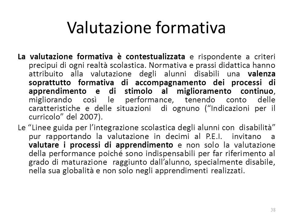 Valutazione formativa La valutazione formativa è contestualizzata e rispondente a criteri precipui di ogni realtà scolastica. Normativa e prassi didat