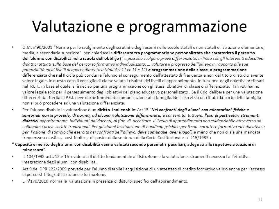 """Valutazione e programmazione O.M. n°90/2001 """"Norme per lo svolgimento degli scrutini e degli esami nelle scuole statali e non statali di istruzione el"""