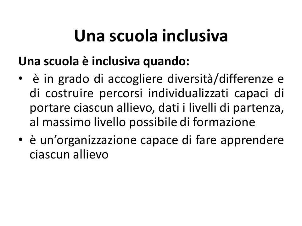 Una scuola inclusiva Una scuola è inclusiva quando: è in grado di accogliere diversità/differenze e di costruire percorsi individualizzati capaci di p