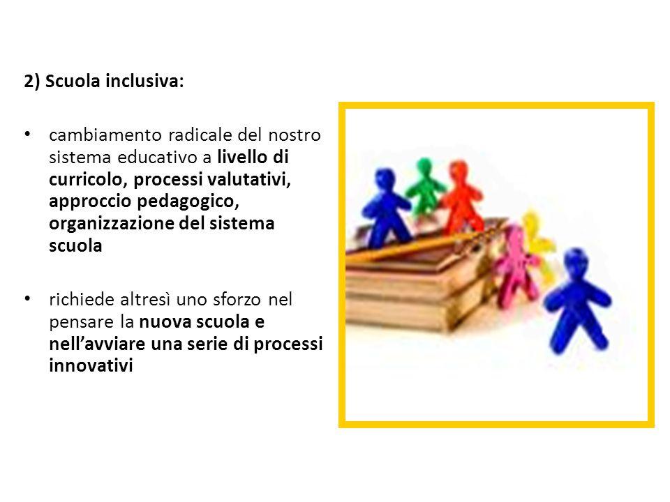 2) Scuola inclusiva: cambiamento radicale del nostro sistema educativo a livello di curricolo, processi valutativi, approccio pedagogico, organizzazio