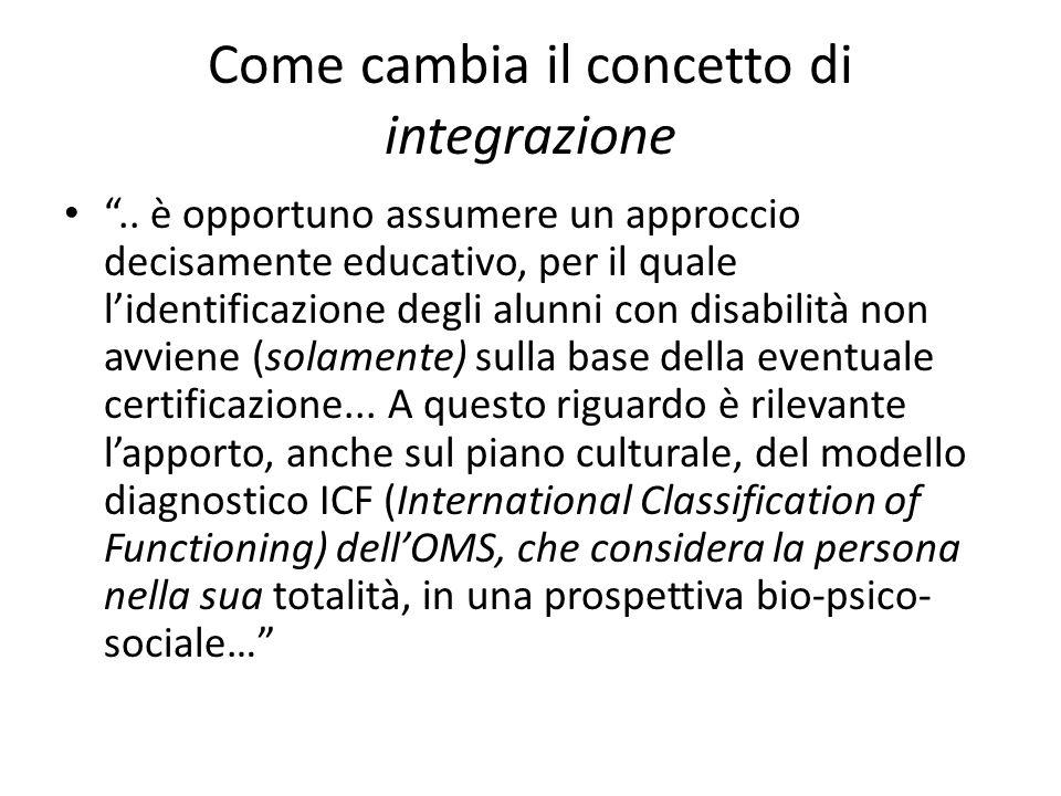 """Come cambia il concetto di integrazione """".. è opportuno assumere un approccio decisamente educativo, per il quale l'identificazione degli alunni con d"""