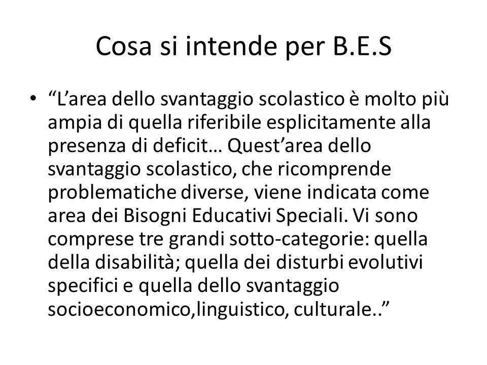 """Cosa si intende per B.E.S """"L'area dello svantaggio scolastico è molto più ampia di quella riferibile esplicitamente alla presenza di deficit… Quest'ar"""