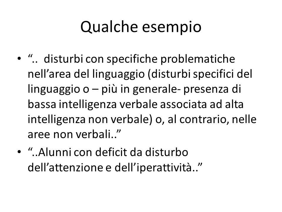 """Qualche esempio """".. disturbi con specifiche problematiche nell'area del linguaggio (disturbi specifici del linguaggio o – più in generale- presenza di"""