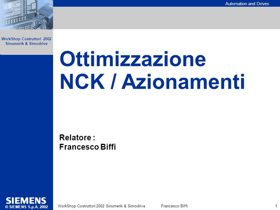 Automation and Drives Ottimizzazione NCK/Azionamenti © SIEMENS AG 2002 WorkShop Costruttori 2002 Sinumerik & SimodriveFrancesco Biffi 1 Ottimizzazione