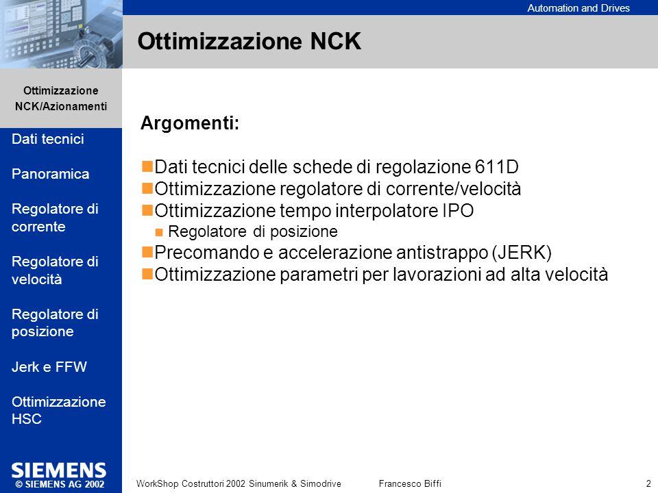 Automation and Drives Ottimizzazione NCK/Azionamenti © SIEMENS AG 2002 WorkShop Costruttori 2002 Sinumerik & SimodriveFrancesco Biffi 2 Ottimizzazione