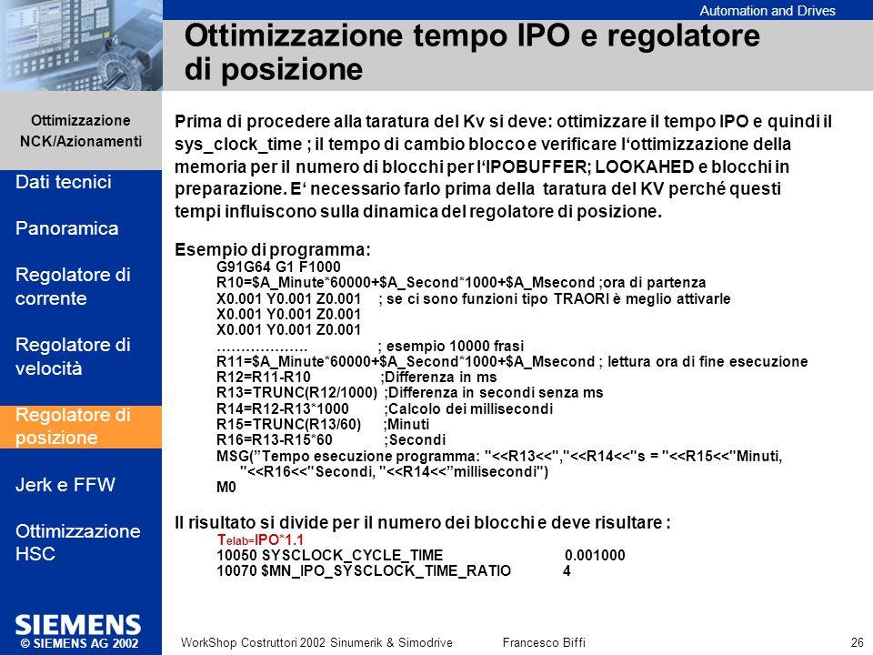 Automation and Drives Ottimizzazione NCK/Azionamenti © SIEMENS AG 2002 WorkShop Costruttori 2002 Sinumerik & SimodriveFrancesco Biffi 26 Ottimizzazion