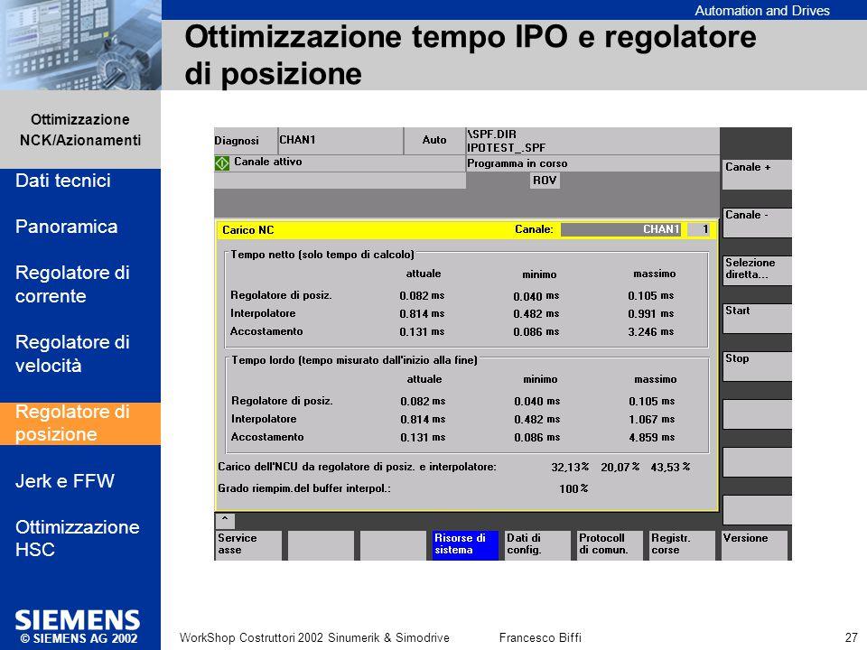 Automation and Drives Ottimizzazione NCK/Azionamenti © SIEMENS AG 2002 WorkShop Costruttori 2002 Sinumerik & SimodriveFrancesco Biffi 27 Ottimizzazion