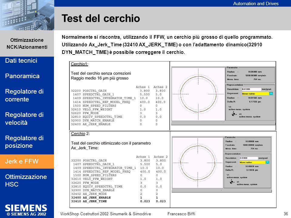 Automation and Drives Ottimizzazione NCK/Azionamenti © SIEMENS AG 2002 WorkShop Costruttori 2002 Sinumerik & SimodriveFrancesco Biffi 36 Test del cerc