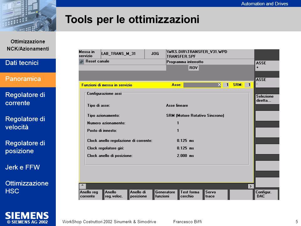 Automation and Drives Ottimizzazione NCK/Azionamenti © SIEMENS AG 2002 WorkShop Costruttori 2002 Sinumerik & SimodriveFrancesco Biffi 5 Tools per le o