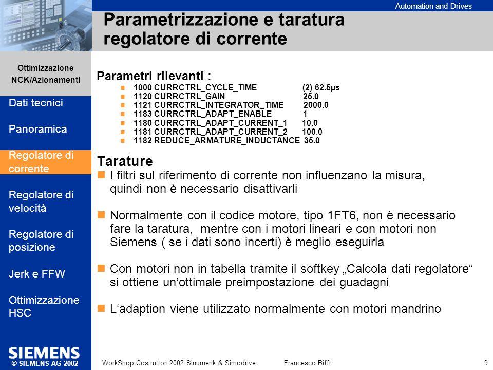 Automation and Drives Ottimizzazione NCK/Azionamenti © SIEMENS AG 2002 WorkShop Costruttori 2002 Sinumerik & SimodriveFrancesco Biffi 9 Parametrizzazi