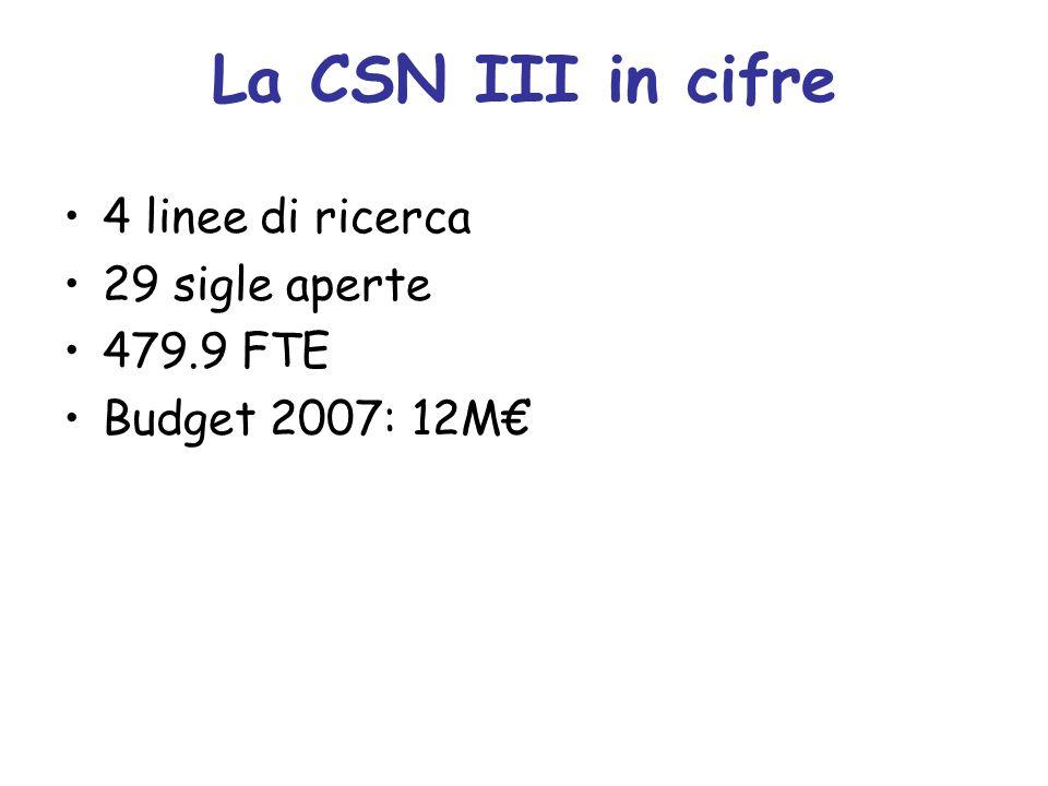 La CSN III in cifre 4 linee di ricerca 29 sigle aperte 479.9 FTE Budget 2007: 12M€