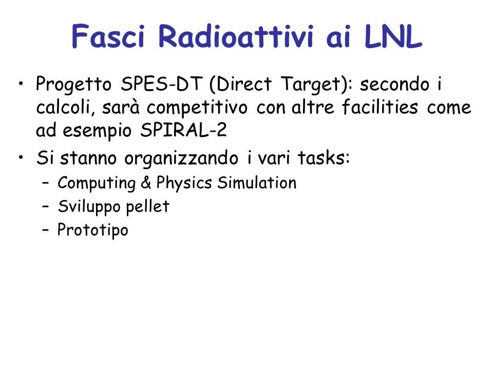 Fasci Radioattivi ai LNL Progetto SPES-DT (Direct Target): secondo i calcoli, sarà competitivo con altre facilities come ad esempio SPIRAL-2 Si stanno organizzando i vari tasks: –Computing & Physics Simulation –Sviluppo pellet –Prototipo
