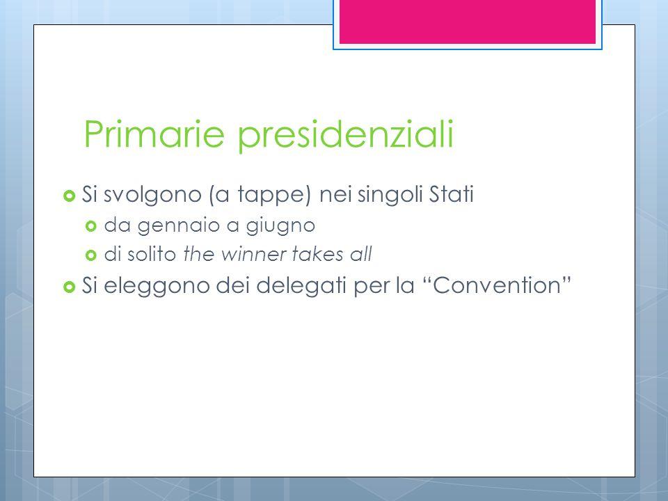 Primarie presidenziali  Si svolgono (a tappe) nei singoli Stati  da gennaio a giugno  di solito the winner takes all  Si eleggono dei delegati per