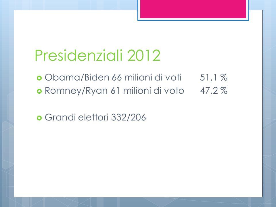 Presidenziali 2012  Obama/Biden 66 milioni di voti 51,1 %  Romney/Ryan 61 milioni di voto47,2 %  Grandi elettori 332/206