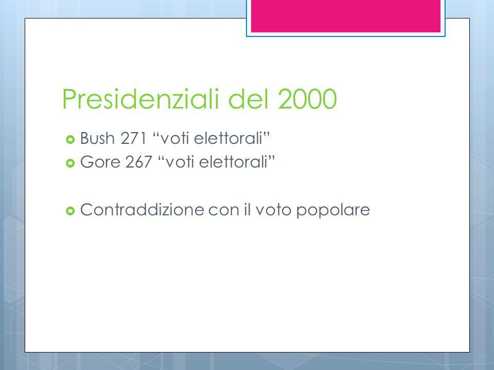 Presidenziali del 2000  Bush 271 voti elettorali  Gore 267 voti elettorali  Contraddizione con il voto popolare