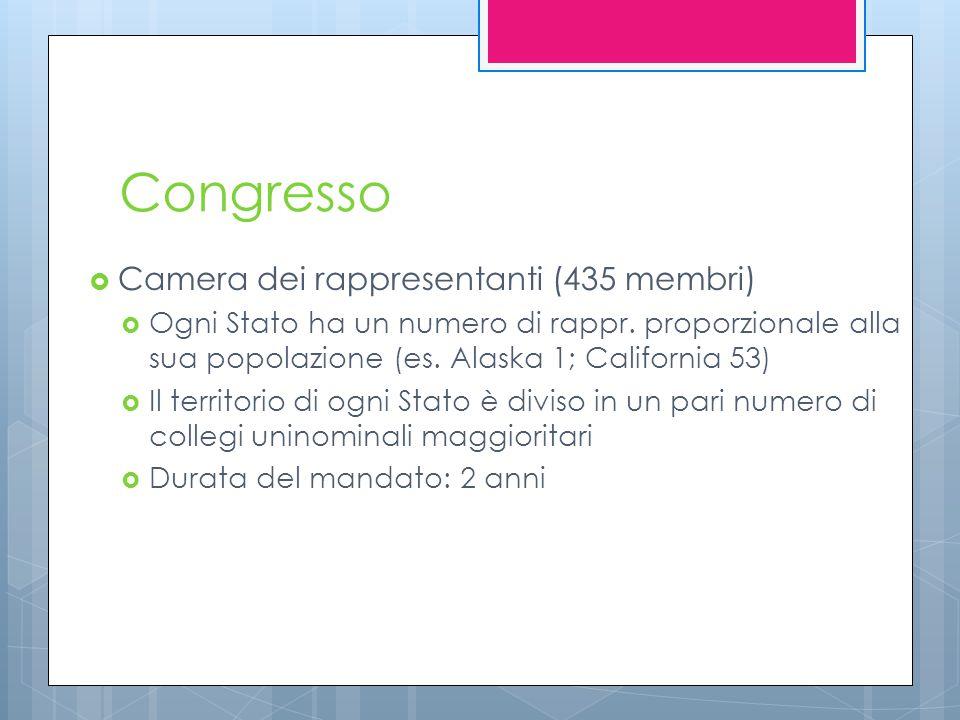 Congresso  Camera dei rappresentanti (435 membri)  Ogni Stato ha un numero di rappr. proporzionale alla sua popolazione (es. Alaska 1; California 53