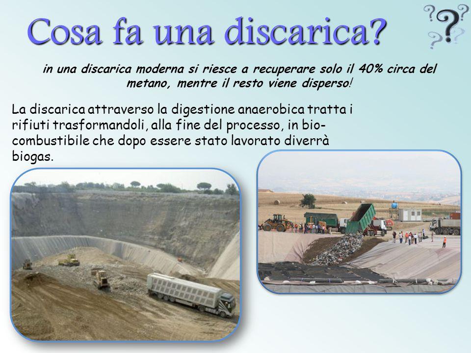 Cosa fa una discarica? in una discarica moderna si riesce a recuperare solo il 40% circa del metano, mentre il resto viene disperso! La discarica attr