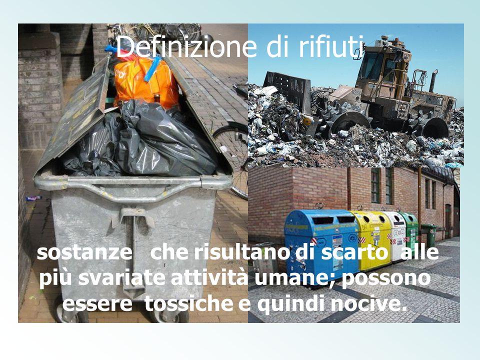 Definizione di rifiuti sostanze che risultano di scarto alle più svariate attività umane; possono essere tossiche e quindi nocive.