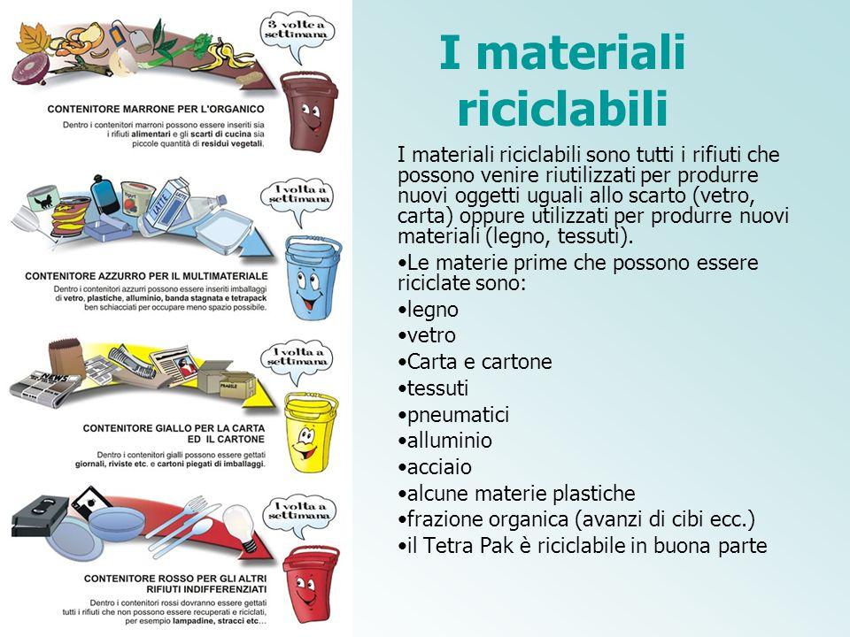I materiali riciclabili I materiali riciclabili sono tutti i rifiuti che possono venire riutilizzati per produrre nuovi oggetti uguali allo scarto (ve