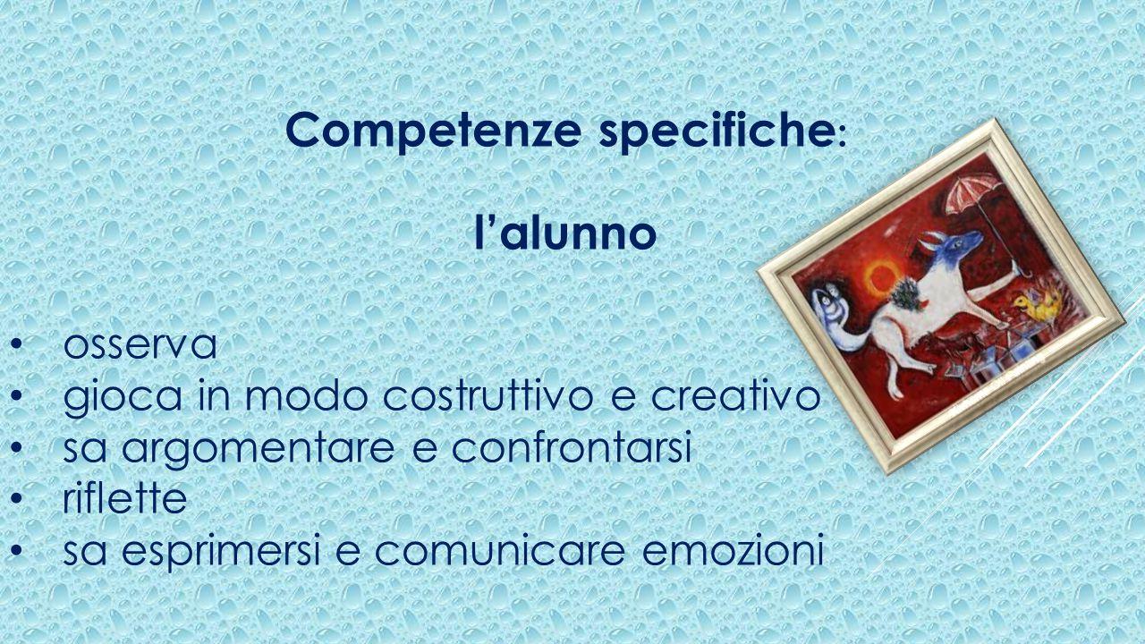 Competenze specifiche : l'alunno osserva gioca in modo costruttivo e creativo sa argomentare e confrontarsi riflette sa esprimersi e comunicare emozioni