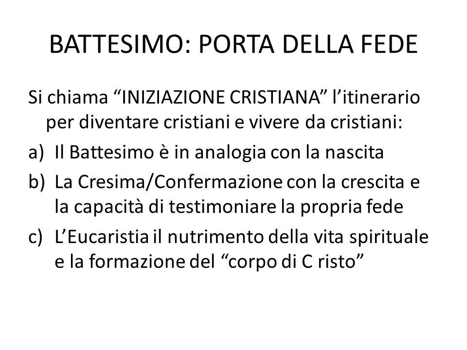 """BATTESIMO: PORTA DELLA FEDE Si chiama """"INIZIAZIONE CRISTIANA"""" l'itinerario per diventare cristiani e vivere da cristiani: a)Il Battesimo è in analogia"""
