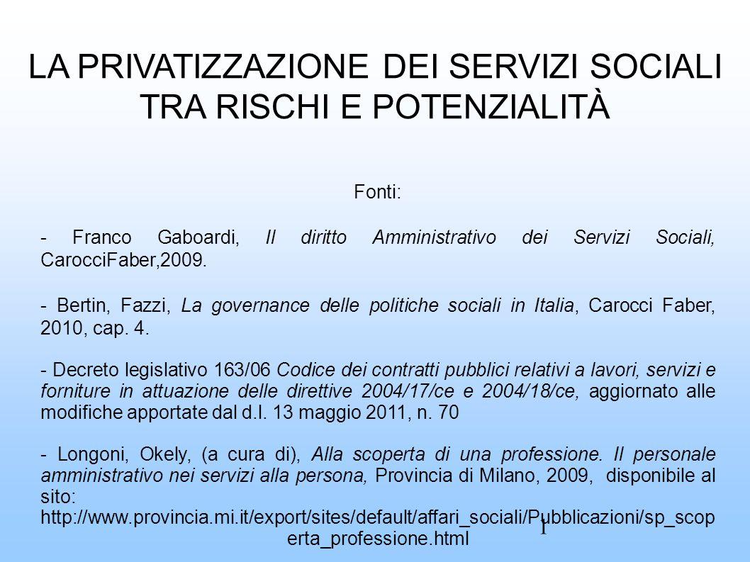 LA PRIVATIZZAZIONE DEI SERVIZI SOCIALI TRA RISCHI E POTENZIALITÀ Fonti: - Franco Gaboardi, Il diritto Amministrativo dei Servizi Sociali, CarocciFaber,2009.
