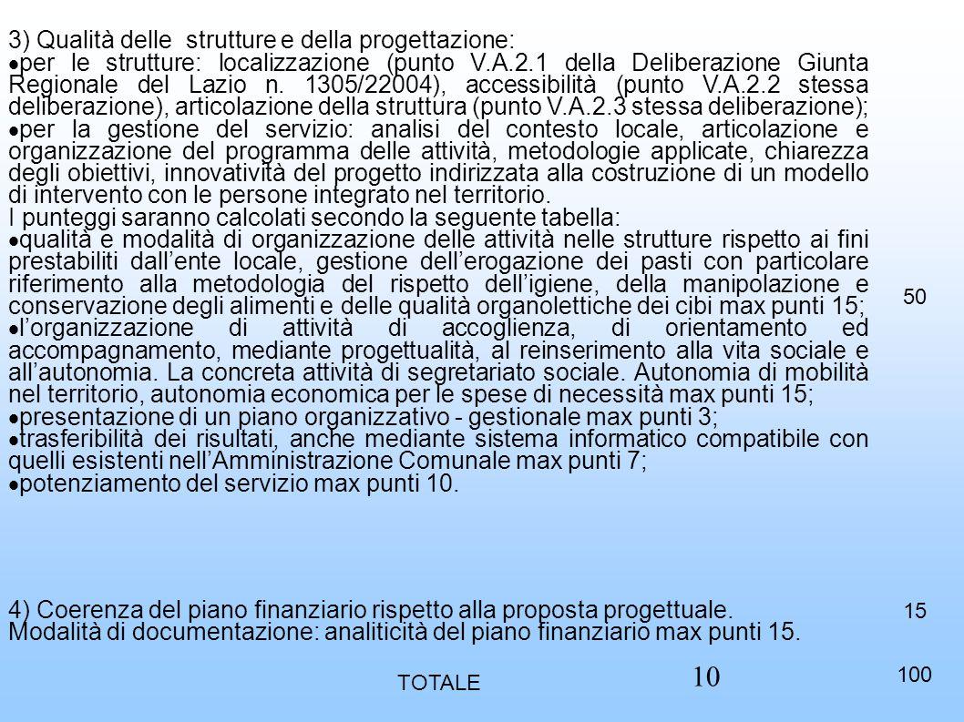 3) Qualità delle strutture e della progettazione:  per le strutture: localizzazione (punto V.A.2.1 della Deliberazione Giunta Regionale del Lazio n.
