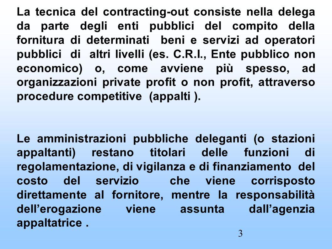La tecnica del contracting-out consiste nella delega da parte degli enti pubblici del compito della fornitura di determinati beni e servizi ad operatori pubblici di altri livelli (es.